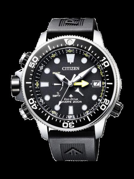 Citizen Aqualand Promaster Marine Professionell Diver Taucheruhr Herren Eco Drive 46mm Edelstahl Zifferblatt & Gummi-Armband schwarz Taucheruhr BN2036-14E