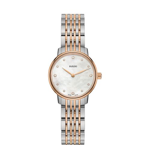 Rado Coupole Classic Diamonds Jubile Damenuhr mit Diamanten Bicolor Perlmutt Quarz 27mm R22897923 | Uhren-Lounge