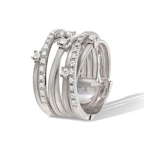 Marco Bicego Goa Ring mit Diamanten Weißgold 18 Karat 7 Stränge AG277 B2 W