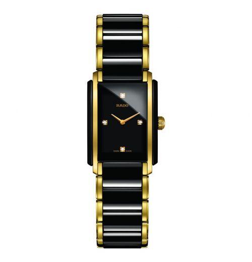 Rado Integral Diamonds S Jubile Damenuhr mit Diamanten Schwarz Gold Bicolor R20845712 | Uhren-Lounge