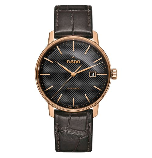 Rado Coupole Classic XL Herren Automatik Rosegold Schwarz Leder-Armband R22877165 | Uhren-Lounge