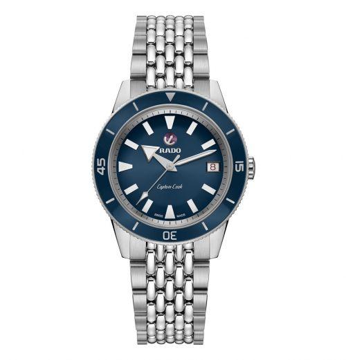 Rado Captain Cook Automatic 37mm Damenuhr Silber Blau Edelstahl-Armband R32500203 | Uhren-Lounge