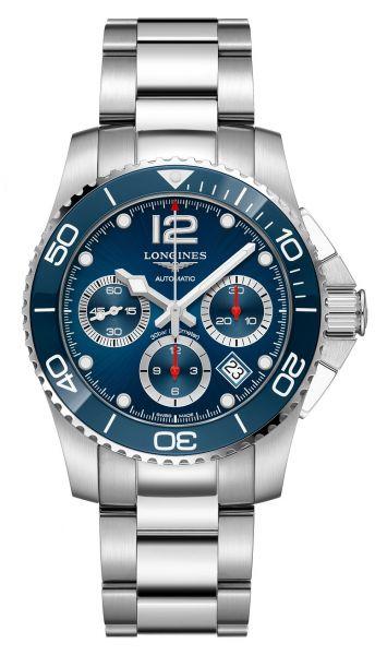 Longines HydroConquest Chronograph 41mm Automatik Blau Edelstahl-Armband L3.783.4.96.6   Uhren-Lounge