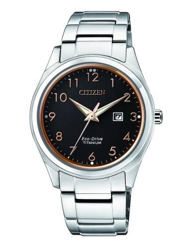 Citizen Uhr Damen aus silbernem Titanium mit schwarzem Zifferblatt Eco Drive 34mm EW2470-87F günstig online kaufen