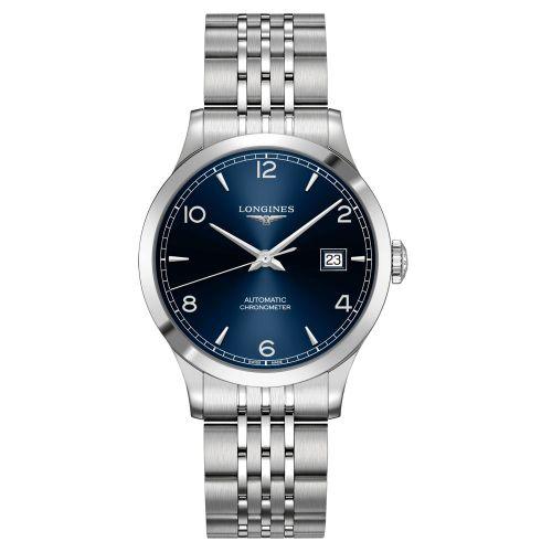Longines Record Herrenuhr Automatik 38mm Silber Blau Edelstahl-Armband L2.820.4.96.6