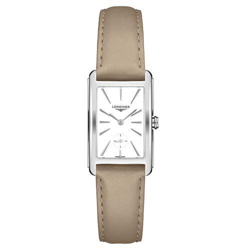 Longines DolceVita mit weißem Zifferblatt & Leder-Armband Beige Taupe 37mm Quarz L5.512.4.11.7