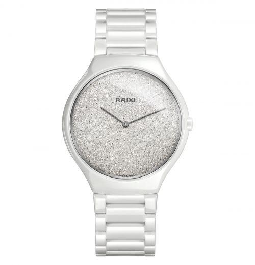 Rado True Thinline Damen Herren Keramik Uhr Weiß 39mm Quarz R27007092