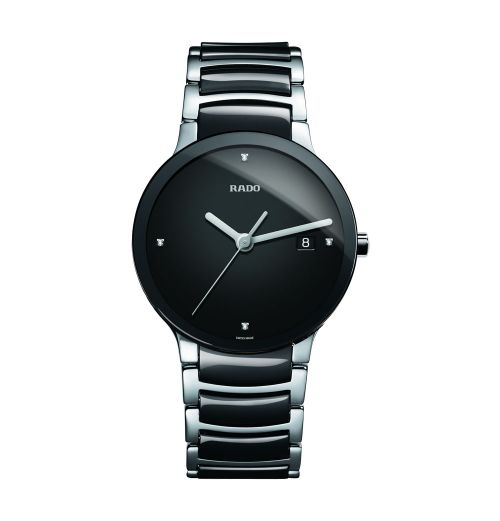 Rado Centrix Diamonds L Herrenuhr mit Diamanten Keramik Schwarz Quarz 38mm Jubile R30934712 | Uhren-Lounge