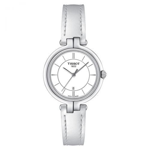 Tissot Flamingo Damenuhr Weiß Leder-Armband Quarz 30mm T094.210.16.011.00