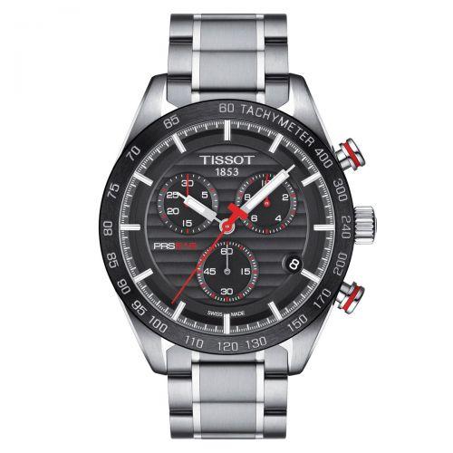 Tissot PRS 516 Chronograph Herrenuhr 42mm Schwarz Edelstahl-Armband Quarz T100.417.11.051.01