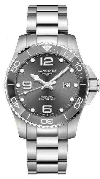 Longines HydroConquest 43mm Automatic Grau Herrenuhr Edelstahl-Armband L3.782.4.76.6   Uhren-Lounge