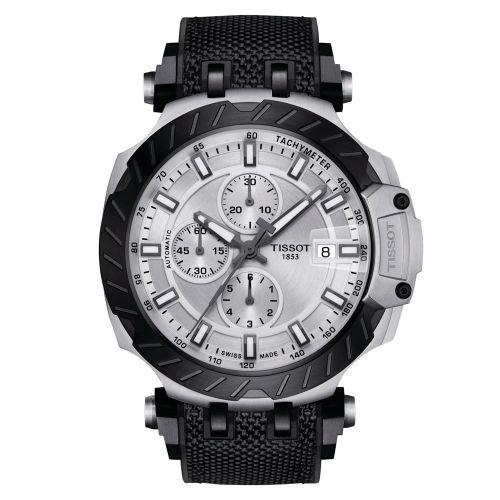 Tissot T-Race Automatic Chronograph Silber Schwarz Kautschuk-Band Herrenuhr 45mm T115.427.27.031.00