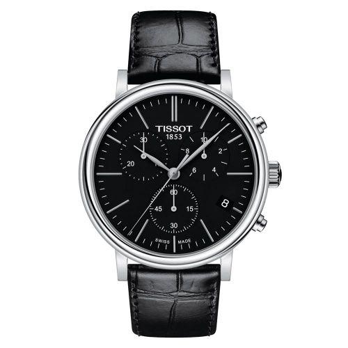 Tissot Carson Premium Chronograph Silber mit schwarzem Zifferblatt & Leder-Armband T122.417.16.051.00