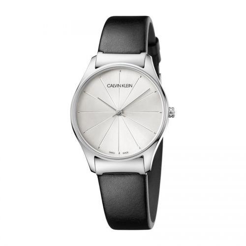 Calvin Klein Damenuhr silber schwarz Lederarmband Quarz 32mm classic K4D221C6 | Uhren-Lounge