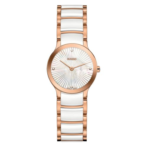 Rado Centrix Diamonds Damenuhr mit Diamanten Perlmutt-Zifferblatt Weiß Rosegold Bicolor-Armband 23 mm Jubile XS R30186902