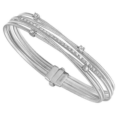 Marco Bicego Armreif Goa Weißgold mit Diamanten 5 Stränge Armband BG618 B2 W