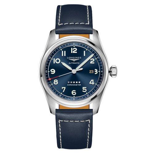 Longines Spirit Automatic Chronometer 42mm Blau Leder-Armband Herrenuhr L3.811.4.93.0