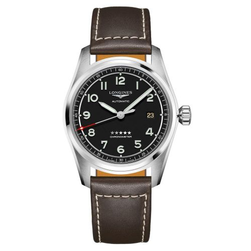 Longines Spirit Automatic Chronometer 40mm Schwarz Leder-Armband Herrenuhr L3.810.4.53.0 | Uhren-Lounge