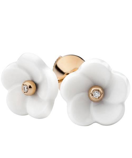 Meissen Porzellan Ohrringe Weiß Gold MPJ50BL11400