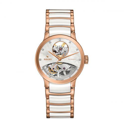 Rado Centrix Automatic Diamonds Open Heart Damenuhr Weiß Rosegold mit Diamanten Jubile R30248902