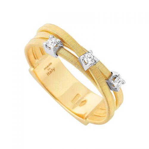Marco Bicego Ring Goa Gold mit Diamanten 18 Karat 3 Stränge AG269 B YW