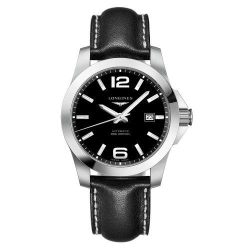 Longines Conquest Automatik 41mm Schwarz Leder-Armband Herrenuhr L3.777.4.58.3