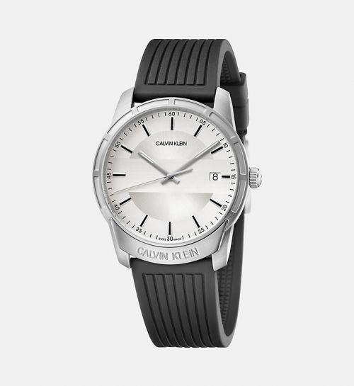 CALVIN KLEIN Uhr Herren Silber Weiß mit schwarzem Kautschuk-Armband 42mm Evidence K8R111D6