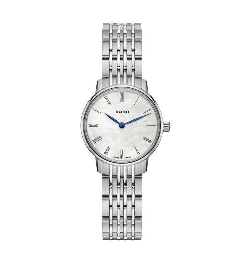 Rado Coupole Classic Damenuhr Silber mit weißem Perlmutt-Zifferblatt Quarz 27mm R22897943 | Uhren-Lounge