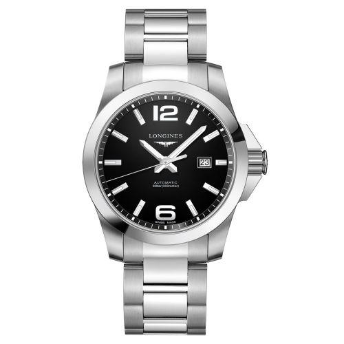 Longines Conquest Automatik 43mm mit schwarzem Zifferblatt Edelstahl-Armband Herrenuhr L3.778.4.58.6