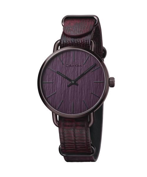Calvin Klein Uhr Herren violett rot Lederarmband even K7B21XUP | Uhren-Lounge