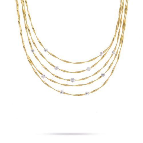 Marco Bicego Marrakech Halskette 42cm aus 18kt Gold mit Diamanten CG340 B8