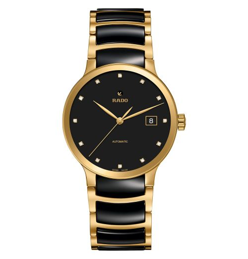 Rado Centrix Automatic Diamonds Herrenuhr L Schwarz Gold Keramik-Armband 38mm Jubile R30079762