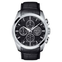 Tissot Couturier Automatic Chronograph 43mm Day-Date Schwarz Leder-Armband T035.614.16.051.02