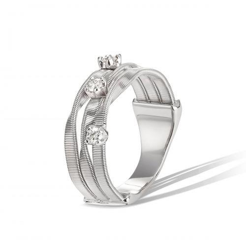 Marco Bicego Ring Marrakech Weißgold mit Diamanten 3 Stränge 18 Karat AG158 B W