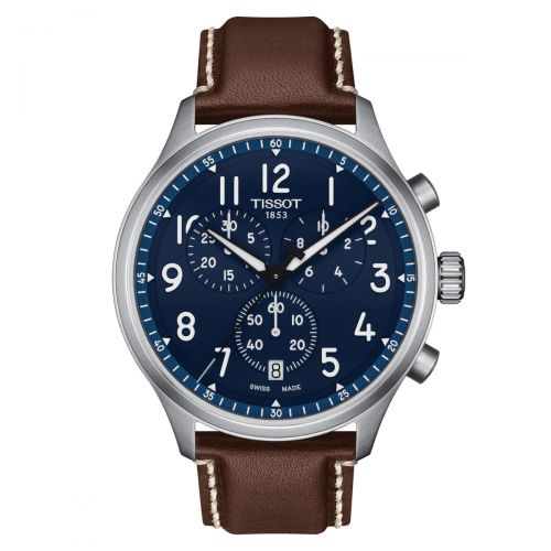 Tissot Chrono XL Vintage Blau Leder-Armband Quarz 45mm Herrenuhr Chronograph T116.617.16.042.00