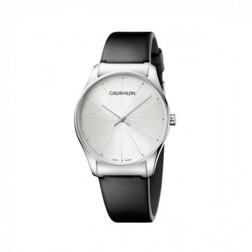 CALVIN KLEIN Uhr Damen Silber Schwarz Lederarmband Quarz 32mm classic K4D211C6 | Uhren-Lounge