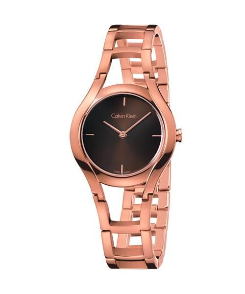 Calvin Klein Damenuhr Rosegold Zifferblatt Braun Ketten-Armband Quarz 32mm class K6R2362K | Uhren-Lounge