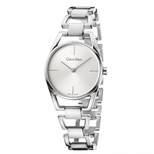 Calvin Klein Damenuhr silber Edelstahl Ketten-Armband Quarz 30mm dainty K7L23146 | Uhren-Lounge