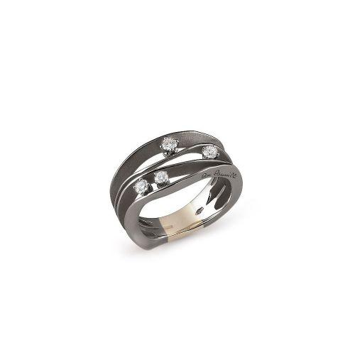 Annamaria Cammilli Ring Schwarz Gold mit Diamanten Black Lava Dune GAN0778E | Uhren-Lounge