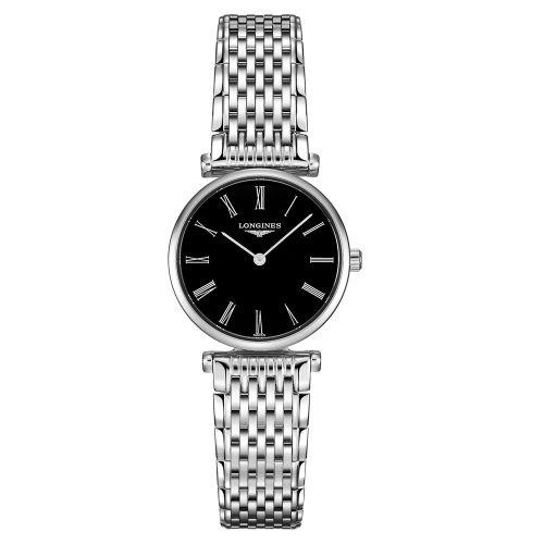 Longines La Grande Classique Damenuhr Silber Schwarz & Edelstahl-Armband 24mm Quarz L4.209.4.51.6   Uhren-Lounge