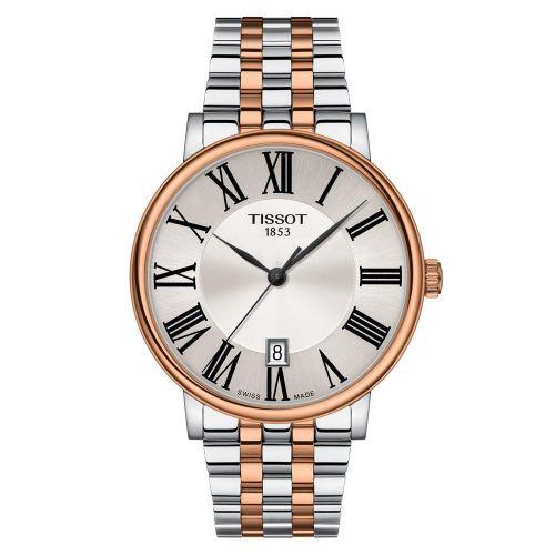 Tissot Carson Premium Bicolor Rosegold Edelstahl-Armband Herrenuhr 40mm Quarz T122.410.22.033.00
