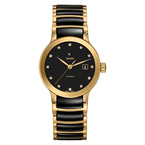 Rado Centrix Automatic Diamonds Damenuhr Bicolor Schwarz Gold Keramik Jubile 28mm R30080762