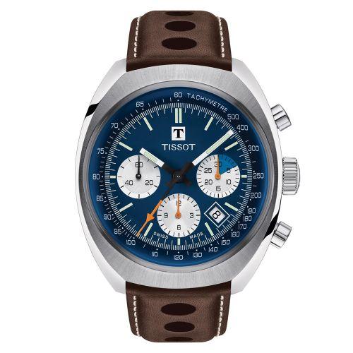 Tissot Heritage 1973 Chronograph Automatik Herrenuhr Blau Leder-Armband T124.427.16.041.00