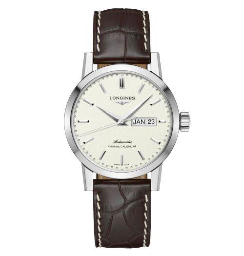 Longines 1832 Herrenuhr Automatik mit Jahreskalender beigem Zifferblatt Leder-Armband L4.827.4.92.2 | Uhren-Lounge