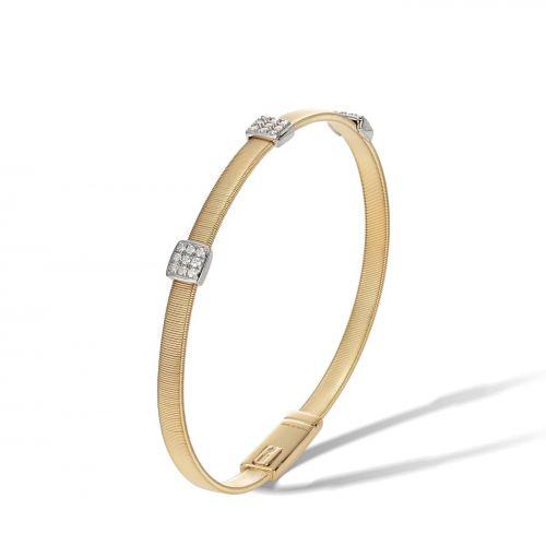 Marco Bicego Armband Gold mit 3 Diamanten Paves Masai BG731 B2 YW