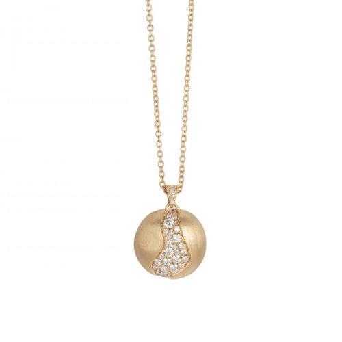 Marco Bicego Anhänger mit Diamanten Pave & Kette Gold 18 Karat Africa CB2297 B2 Y