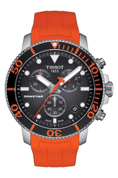 Tissot Seastar 1000 Quartz Orange Schwarz 45mm Herren Chronograph Taucheruhr T120.417.17.051.01