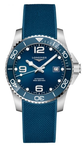 Longines HydroConquest Automatik 41mm Blau Kautschuk-Armband L3.781.4.96.9 | Uhren-Lounge