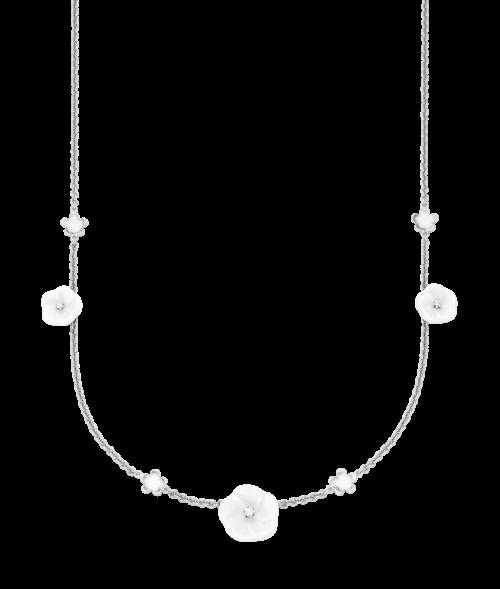 Meissen Collier Halskette Weißgold mit Porzellan-Blüten und Diamanten 7 Blüten 1739 Royal Blossom MPJ20BL296C45