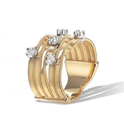 Marco Bicego Marrakech Ring Gold mit Diamanten 5 Stränge 18 Karat AG157 B YW